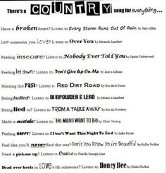 Country songs for every situation! it never lets ya down(: