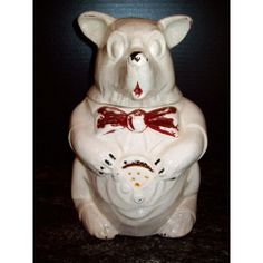 1940'S OLD MCCOY POTTERY BEAR WEARING THE VEST COOKIE JAR