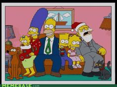 HOMER: OK guys smile for our family Christmas picture..... 1..2..3.  THE SIMPSONS: CHEESE!! GRANDPA: **SNORE** Zzzz
