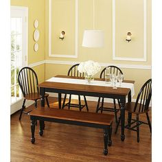 $269 Yes, its cheap.  I have a 6 year old messy eater.  Better Homes and Gardens Autumn Lane 6-Piece Dining Set, Black and Oak