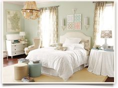 Bedroom Decorating Ideas - Wall color, white linens and love the drapery fabric!
