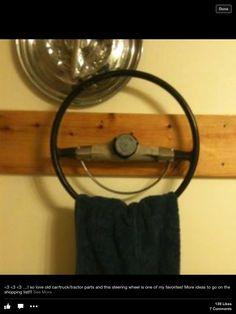 Old steering wheel towel rack