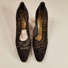 4dea5bfc3 YSL Vintage Yves Saint Laurent Black Dress Heels Velvet Sheer Mesh Sz 8.5M