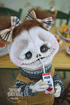 EXTRA SALE!! Filomena - halloween feast, bat, carton milk, Art Doll, sculpt, skull, skeleton, monsters, spooky, creature, creepycute, horror