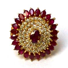 Stunning Natural Ruby And Diamond Gold Cocktail Ring - Rubies & Sapphires Ruby Ring Designs, Gold Designs, Gold Earrings Designs, Antique Jewellery Designs, Gold Jewellery, Antique Jewelry, Jewelery, Ruby Rings, Ear Rings