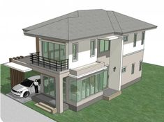 Home Design Plan with 4 Bedrooms. - Home Design with Plansearch Town House Plans, House Layout Plans, Small House Plans, House Layouts, Bungalow Floor Plans, Bungalow House Design, House Front Design, Modern House Design, Site Plan Design