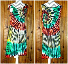 XL Hand Tie Dyed Sleeveless Summer Tank Dress RASTA Spiral 100% Cotton #Unbranded #AsymmetricalHem #Casual #Dress #TieDye #JoiNT #JawDroppingNifty3 #JawDropping #Rasta