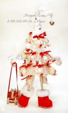 "Gallery.ru / Фото #11 - Букеты из конфет в Муроме ""Новый Год"" - may-present Cone Christmas Trees, Christmas Decorations For The Home, Christmas Tree Crafts, Handmade Christmas Gifts, Christmas Centerpieces, Christmas Wreaths, Christmas Ornaments, Merry Little Christmas, Christmas Baby"
