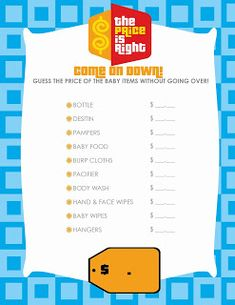 Free Printable Price is Right Baby Shower Game