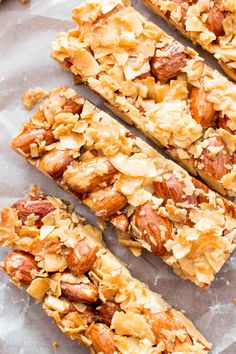 3 Ingredient Homemade KIND Coconut Almond Bar Recipe V GF an easy recipe for homemade paleo KIND bars packed with crunchy almonds and sweet coconut Recipe on Healthy Snack Bars, Paleo Bars, Vegan Snacks, Paleo Vegan, Protein Snacks, Healthy Breakfasts, Eat Healthy, Raw Vegan, Vegetarian