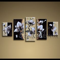 Amazing Contemporary Wall Art Oil Painting On Canvas Panels Stretched Ready To Hang Tulip Flowers. This 5 panels canvas wall art is hand painted by Anmi.Z, instock - $155. To see more, visit OilPaintingShops.com