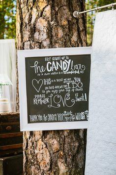 chalkboard candy bar sign http://www.weddingchicks.com/2013/09/30/vintage-vineyard-wedding/