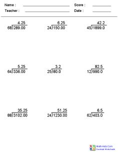 5th Grade Division Worksheets