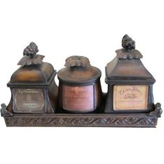 Decorative French Metal Tray & 3 Canisters ($80) ❤ liked on Polyvore featuring decorative objects