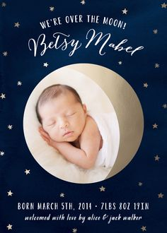 Over the Moon! Birth Announcement by Hooray Creative for minted.com