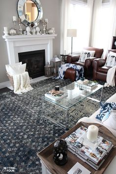 See how my new indigo area rugs gave my kitchen and living room a whole new stylish look! I also have an incredible Rugs USA (sponsored) rug giveaway for you too!