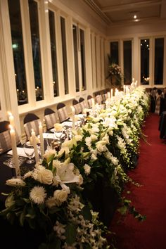 Our wonderful white floral runner by candlelight! #decorit #flowers #floralrunner #styling #weddingdecorations #bridaltable #bridalinspo #floralstying #events  www.decorit.com.au