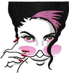Dame with pink sunglasses machine embroidery design. Machine embroidery design. www.embroideres.com