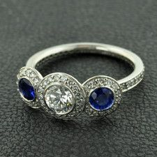 Ritani platinum endless love collection natural sapphire and diamond ring.