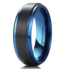 King Will Duo Black Brushed Blue Tungsten Carbide Wedding Band Ring Polish Finished Comfort Fit Meteorite Wedding Band, Tungsten Carbide Wedding Bands, Wedding Ring Bands, Tungsten Rings, Black Onyx Ring, Black Silver, Geeks, Stainless Steel Wedding Bands, Titanium Rings For Men