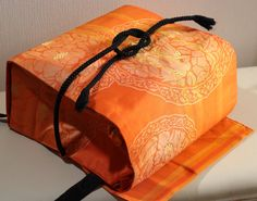 Orange Japanese Obi Backpack with Black Obijime by OniGokkoBags, $50.00