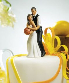 This fun and playful couple is ready to hit the basketball court of love. This cake topper is the perfect accent piece for basketball fanatics everywhere who love to let their hair down...even at their own wedding. Hand painted porcelain.br 1br br 5 cm x $44.98