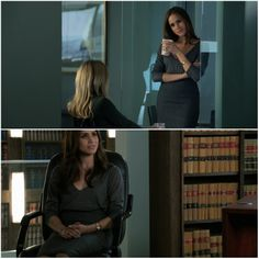 Suits' Rachel Zane perfect mix of clothes #officestyle #greyskirt #greytop