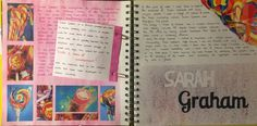 Sarah Graham title page art gcse:food Sketchbook Challenge, Sketchbook Layout, Gcse Art Sketchbook, Sketchbooks, Sarah Graham Artist, Artist Research Page, Sweets Art, Food Artists, Cute Girl Drawing