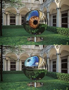 The Architect's Eye features an LED system to create the image of a huge human eyeball that rotates to look to the sky as well as at visitors and the ground. The iris changes color and the pupil increases and decreases in size.
