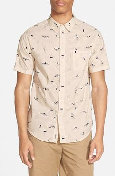 Rhythm 'Catch A Wave' Trim Fit Short Sleeve Print Woven Shirt
