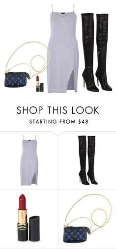 """""""Untitled #3069"""" by hankristina ❤ liked on Polyvore featuring River Island, Jimmy Choo, Revlon and Louis Vuitton"""