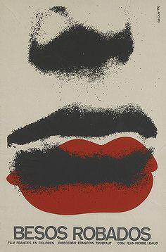 Besos robados  Stolen Kisses, artist: Azcuy, 1970 49,4x75,5 cm, Cuban poster for Truffaut's film Baisers volés.