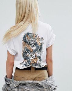 Stussy | Stussy Oversized T-Shirt With Script Logo & Dragon Back