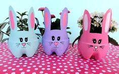 These DIY Easter Bunny Planters are made using recycled pop bottles! Bright and colorful they are a fun craft for a table centerpiece, front porch or handmade gift! Easy Easter Crafts, Easter Crafts For Kids, Easter Gift, Easter Bunny, Diy For Kids, Craft Stick Crafts, Fun Crafts, Craft Ideas, Pop Bottle Crafts