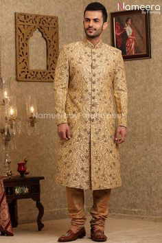 Buy Men's Sherwani-Beige Groom Sherwani for Wedding Online 2021-Men's Wear With Dabka, Nagh, Zari, Embroidery, Patch Work In USA, UK, Canada, Australia Visit Now : www.NameerabyFarooq.com or Call / Whatsapp : +1 732-910-5427 Mens Sherwani, Wedding Sherwani, Work In Usa, Wedding Online, Zardosi Embroidery, Traditional Looks, White Fabrics, Cotton Silk, Dress Making