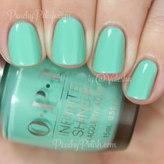OPI Withstand The Test of Thyme   Infinite Shine Collection   Peachy Polish - clearly I'm recently drawn to these colors...curious to see if it would stand the test of my activities #minty green