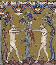 Medieval depiction of Adam and Eve as the lovers.. Note twin gestures