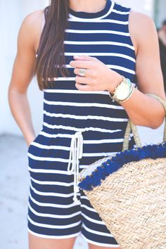 navy stripe romper, straw tote, tassel beach tote, rope tie romper, turquoise tassel earrings, turquoise jewelry // grace wainwright from @asoutherndrawl