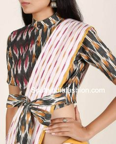 Cotton Saree Blouse Designs For Stylish and Trendy Look ikat blouse with front bow Cotton Saree Blouse Designs, Fancy Blouse Designs, Bridal Blouse Designs, Blouse Neck Designs, Choli Designs, Blouse Styles, Saree Wearing Styles, Stylish Blouse Design, Designer Blouse Patterns