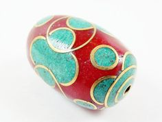 Large Ethnic Turquoise Red Coral Brass Inlay Bead  by LylaSupplies, $12.00
