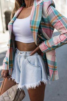 Rock Design, Plaid Blazer, Blazer Buttons, Long Jackets, Jackets For Women, Culottes, Skirt Fashion, Fashion Coat, Fashion Colours