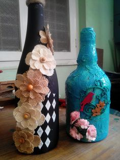 29/52 -My experiments with bottles… – A Crafter's Symposium #glassbottles, #winebottleart, #decoupage, #tissuepaper, #burlapflowers