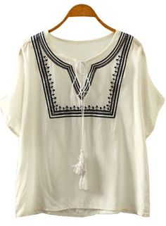 Ethnic Style Round Neck Embroidery Batwing Sleeve Blouse For Women