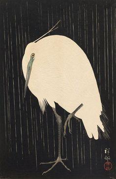"""White Heron Standing in the Rain"" Ohara, Koson (Japanese, 1877-1945)Date: 1928Medium: Color woodblock printLocation: Museum of Fine Arts, Boston"