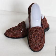 """Обувь ручной работы. Ярмарка Мастеров - ручная работа. Купить Слиперы """"Шоколад"""" РЕЗЕРВ. Handmade. Коричневый, балетки вязаные"""