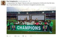 "Rauf Aregbesola Peter Okoye DJ Cuppy Tweets to congratulate the Super Falcons as Nigerians React  Rauf Aregbesola Peter Okoye DJ Cuppy Tweets to congratulate the Super Falcons as Nigerians React  The Nigeria national women's football team nicknamed ""the Super Falcons"" have emerged as African champions for the eighth time after a 1-0 victory against the wasteful Indomitable Lioness of Cameroon on Saturday December 3. 2016 in the 12th Africa Women Cup of Nations final.But the social media…"