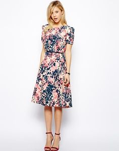 ASOS Midi Dress In Animal Print With Belt @ASOS.com.com.com