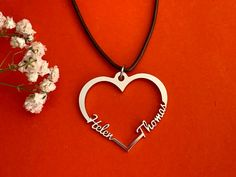 Personalized 2 Names on Heart Pendant Necklace Custom Two Laser Cut Names Handmade Jewelry Birthday Girlfriend Gift Stainless Steel Handmade Jewelry, Handmade Gifts, Girlfriend Birthday, Heart Pendant Necklace, Customized Gifts, Wedding Gifts, Names, Silver, Etsy