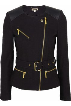 A leather and tweed jacket, perfect for a day of shopping on the high street