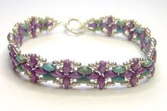 Purple and silver bracelet superduo bracelet by BuzzybeeBeading.
